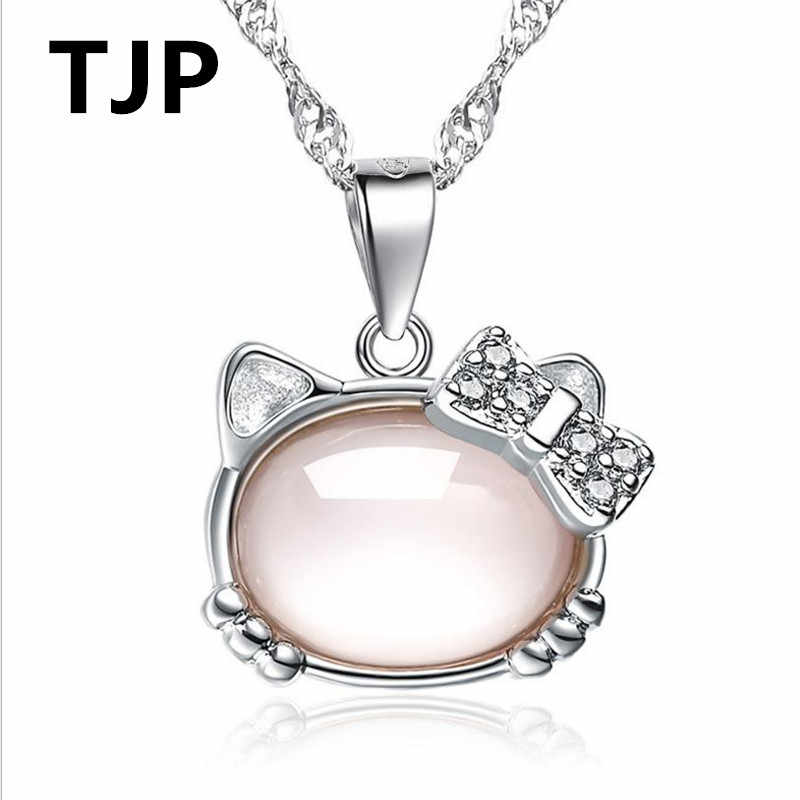 1a9c0dc93 TJP Cute Pink Crystal Stones Hello Kitty Pendants Necklace For Women Jewelry  Pure 925 Sterling Silver