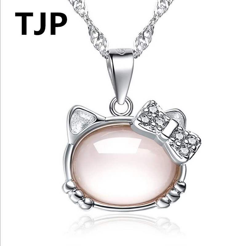 Hello Kitty Pendant ALP Detail Feedback Questions about TJP Cute Pink Crystal Stones Hello Kitty  Pendants Necklace For Women Jewelry Pure 925 Sterling Silver Choker Necklace  Girl ...