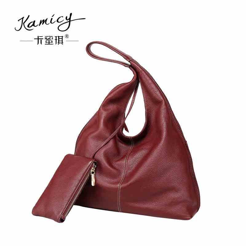 93c41c50e0ba kamicy Large capacity 2018 new hot leather handbag fashionable women s  single shoulder bag leisure and simple new moon bag