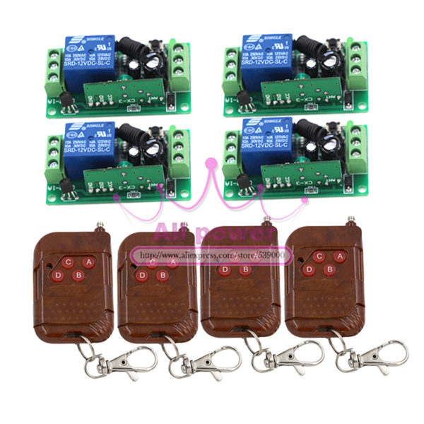 Fixed code 12V 1CH 4pcs Transmitter+ 4pcs Receiver RF Wireless Remote Control Switch digital 12v 1 channel fixed code rf gate garage door 1 transmitter and 12 receiver remote control switch 4313
