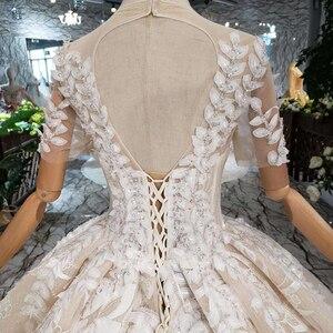 Image 5 - Áo CướI Tay Ngang Ren Lá Hình TÁo Cổ Tròn Con Công Phong Cách Công Chúa Cô Dâu Váy Đầm Cho Bé Gái Vestidos De Novia 2020 HTL234