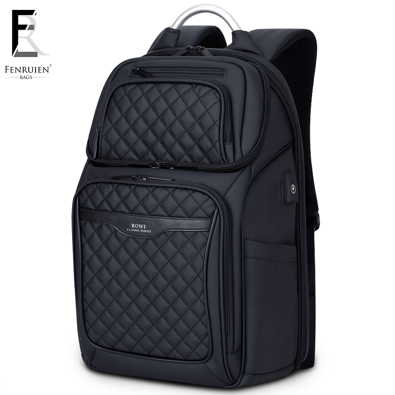 FRN Business USB Charging Bag Men 17 inch Laptop Backpack Waterproof High Capacity Mochila Antitheft Casual Travel Backpack Bag-in Backpacks from Luggage & Bags