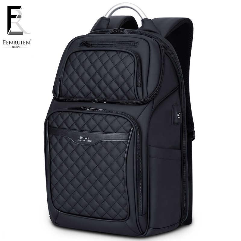 FRN İş USB Şarj Çantası Erkek 17 inç Dizüstü Sırt Çantası Su Geçirmez Yüksek Kapasiteli Mochila Anti Hırsızlık Rahat seyahat sırt çantası Çanta