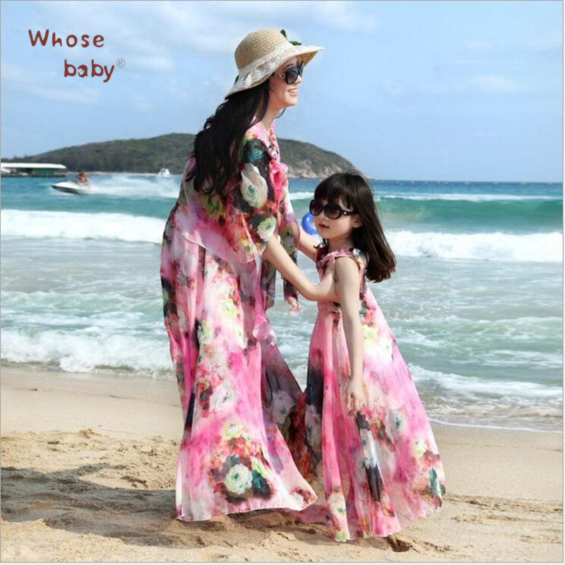 2017 Summer Family Matching Outfits Bohemia Mother Daughter Dresses Resort Beach Dress Floral ...