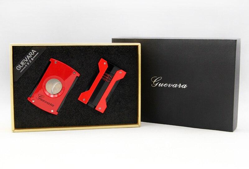 COHIBA acier inoxydable bon coupe cigare Guillotine rouge métal coupe vent 3 Jet flamme gaz allume cigare avec poinçon Ciga - 2