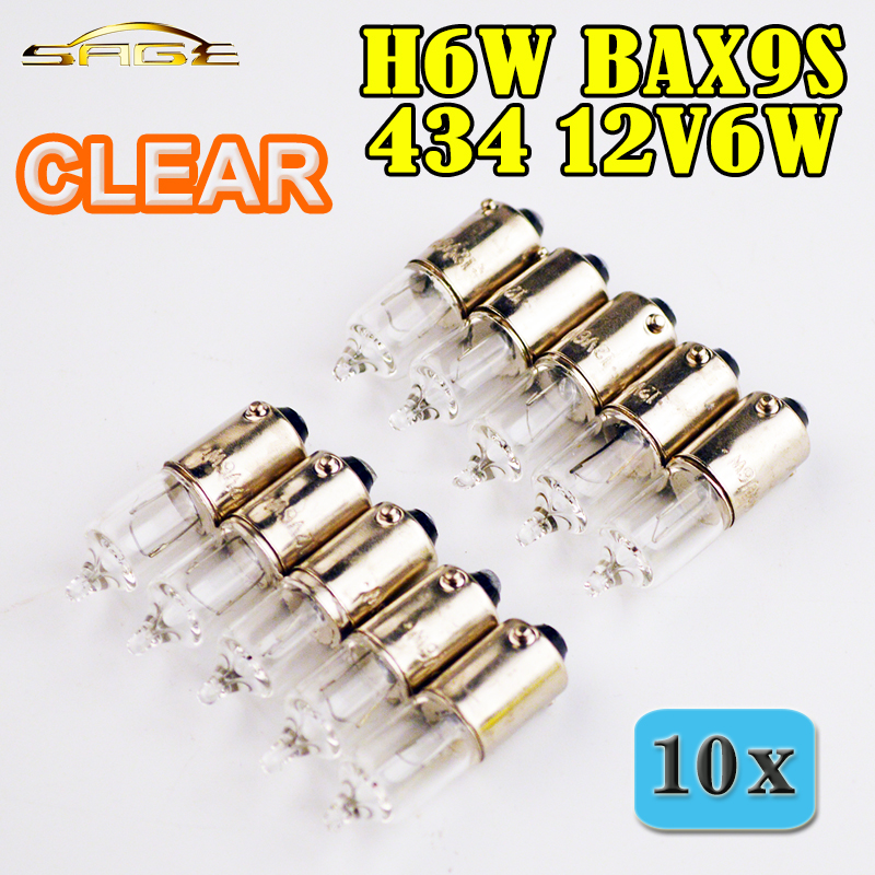 flytop 10 PIECES/Lot H6W 434 BAX9S 12V6W Clear Glass Miniature Lamp C2R Filament Car Bulbs bax мешок набивной bax 10 кг