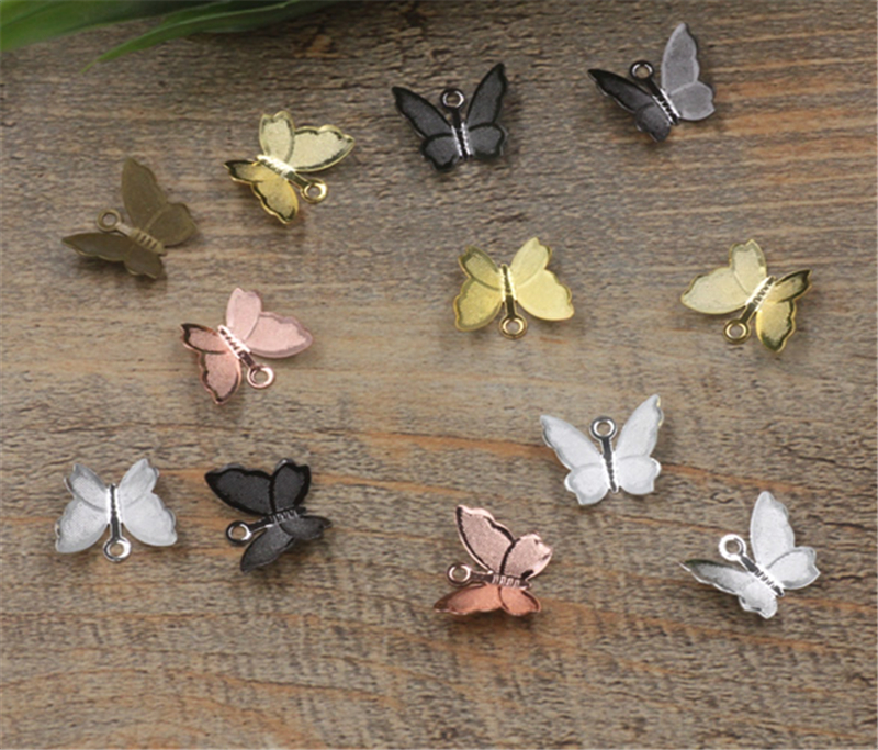 BASEHOME 100pcs/lot 11x13mm Butterfly Charms