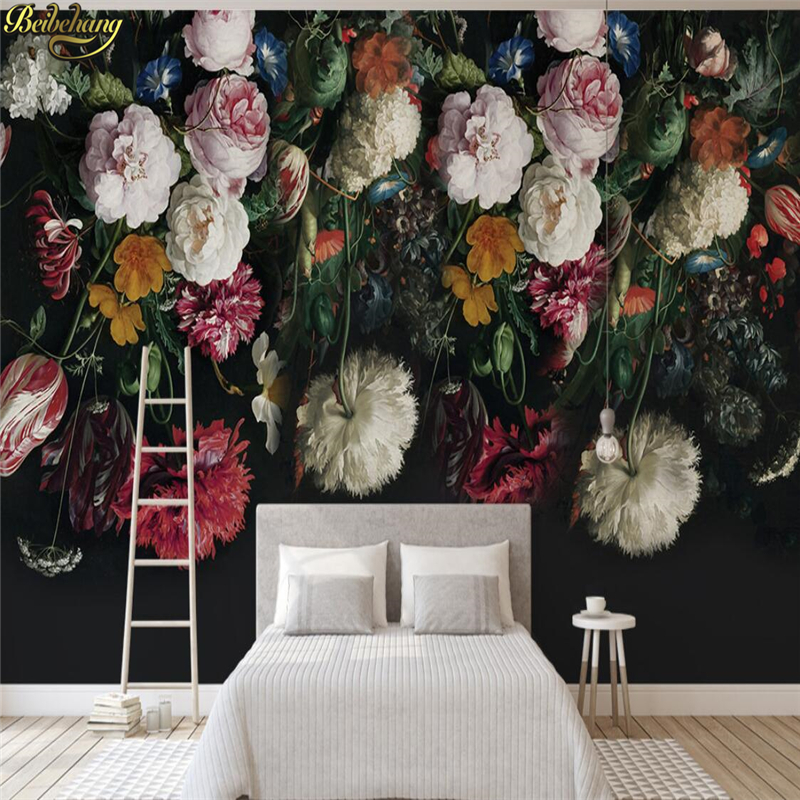 beibehang wall paper Custom photo wallpaper mural 3D European retro hand-painted flowers TV background wall papel de parede 3d xchelda custom modern luxury photo wall mural 3d wallpaper papel de parede living room tv backdrop wall paper of sakura photo