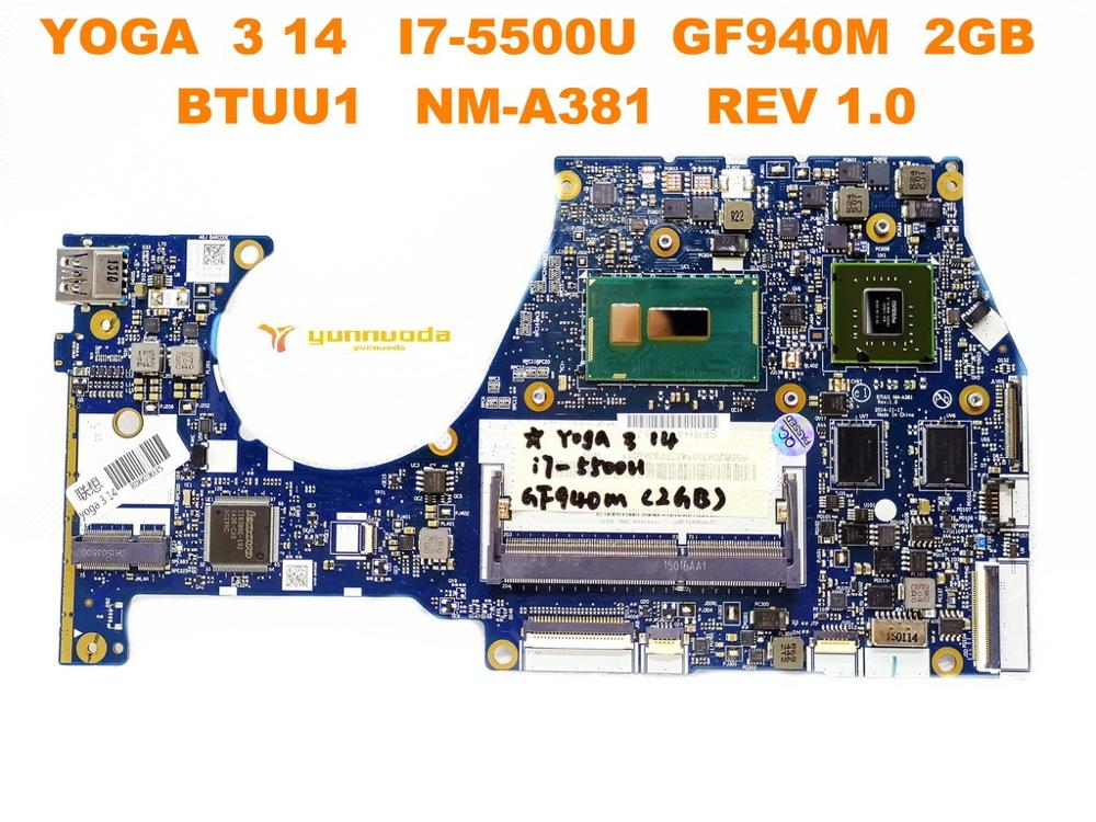 Original for Lenovo YOGA 3 14 laptop motherboard YOGA 3 14 I7-5500U GF940M 2GB BTUU1 <font><b>NM</b></font>-<font><b>A381</b></font> REV 1.0 tested good free shipping image