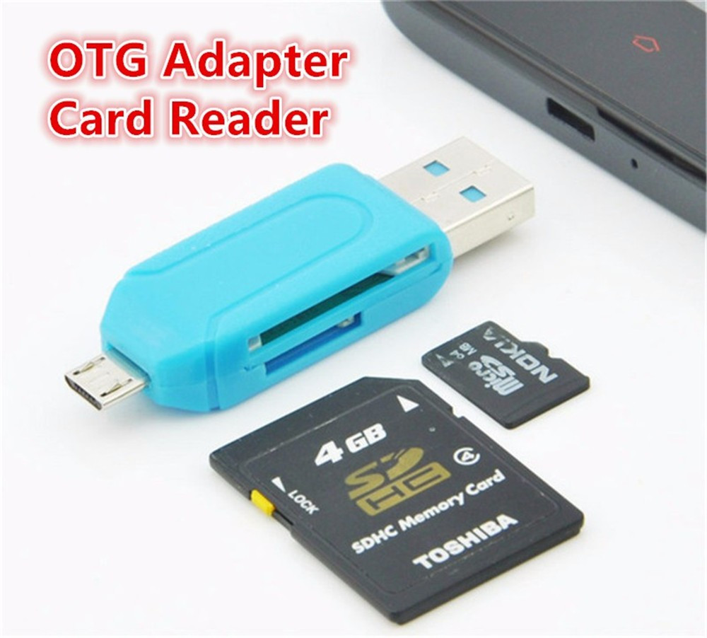 Micro USB Charger Converter 2 In 1 SD TF Card Reader Micro USB OTG Adapter For Samsung Android Phones Computer