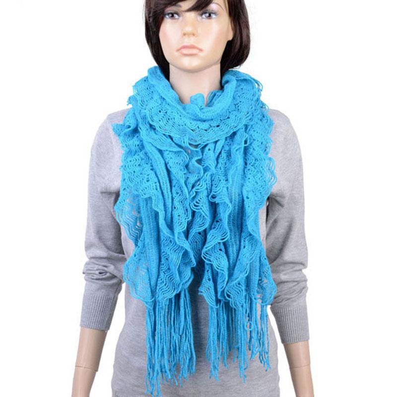 Long Tassel Necklace Winter Scarf Women Cashmere Yarn Knit Scarf with Silver Thread Weaved in Decration Scarf Cape Shawl NL-2139