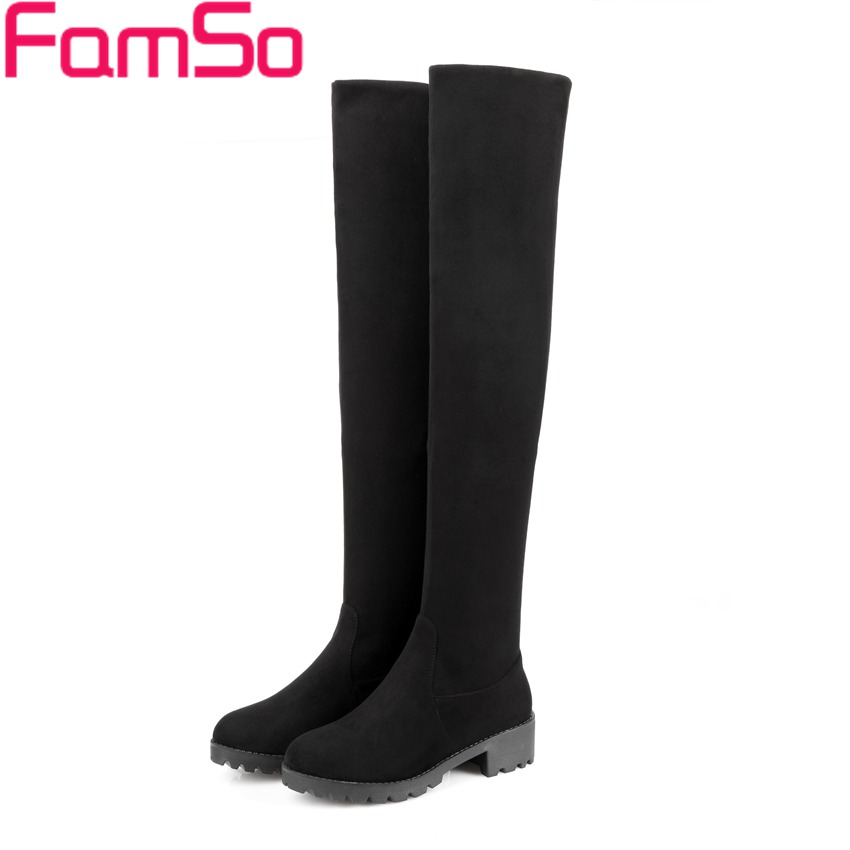 Free shipping 2016 New Shoes font b Women b font Boots Black Thigh High Boots Square