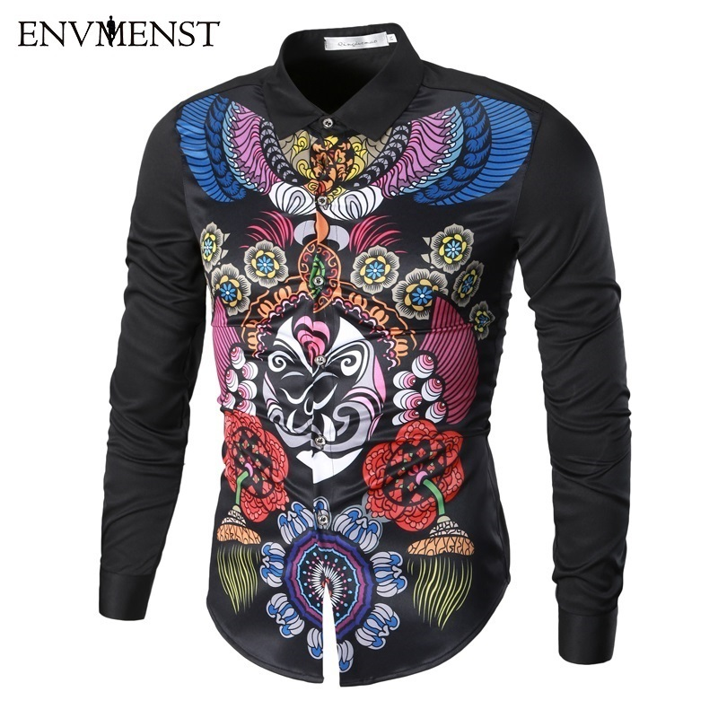 Envmenst 2017 Spring Newest Designed Chinese Tradition Mask Printed Slim Shirt For Men Casual Dress Men's Retro Business Shirt