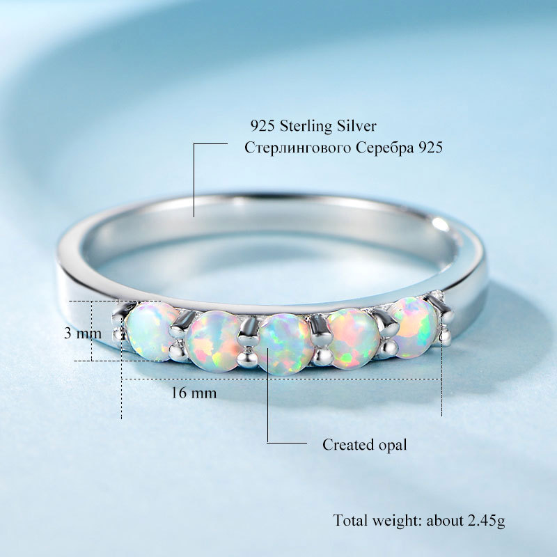 Natural Opal Ring Sterling Silver S925 Ring With White Opal Stone Beautiful Fine Women's Rings Manufacturers Supply 3mm With Cer