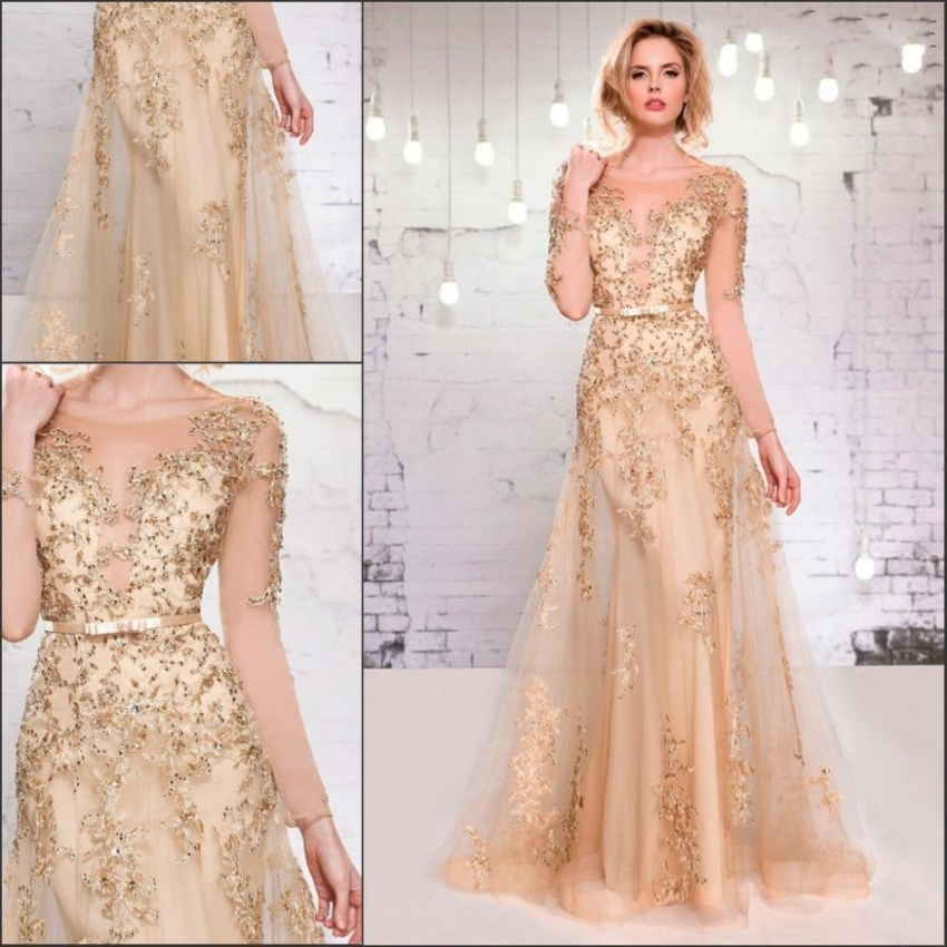 Shining Gold Fitted Sheer Long Sleeve Evening Dress Applique ...