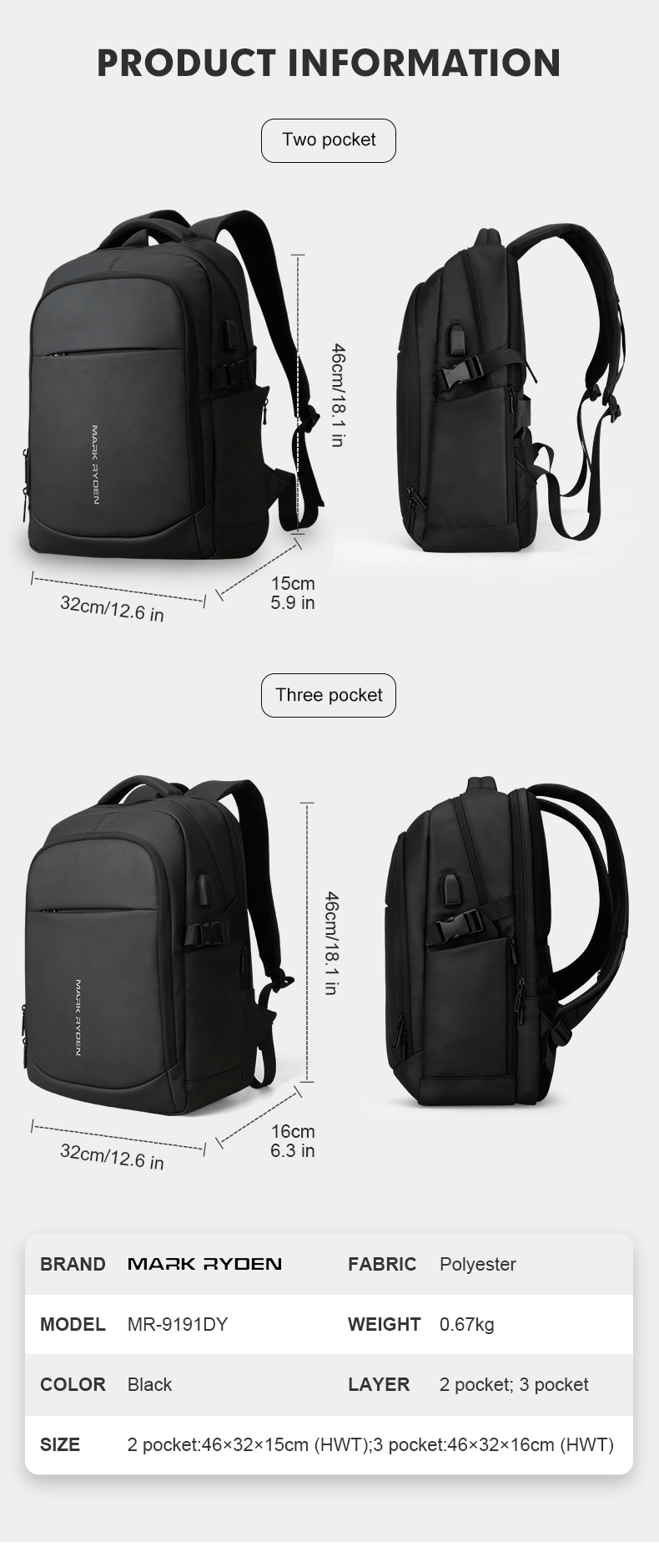 HTB16PXcTOLaK1RjSZFxq6ymPFXaX - Mark Ryden Man Backpack Multifunctional Waterproof 15.6inch Laptop Multi-layer Pockets Bag Man USB Charging School Backpack