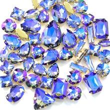 20pcs Black Diamond AB Mix Shapes Sizes Sew On Rhinestones With Claw Flatback Glass Strass Sewing Stones For DIY Garments B1152