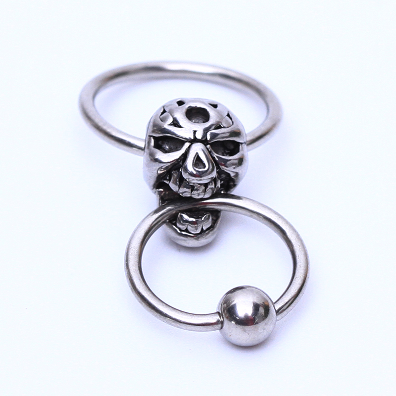 1 st Fashion Skull Titanium Captive Hoop Rings BCR Tragus Nos Stängning Nipple Bar Lip Piercing tragus ring body smycken