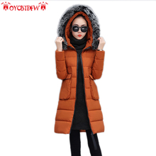 Winter women feather cotton coat fashion solid color High-end mid-long hooded Thickening fur collar warm female outerwear ll820