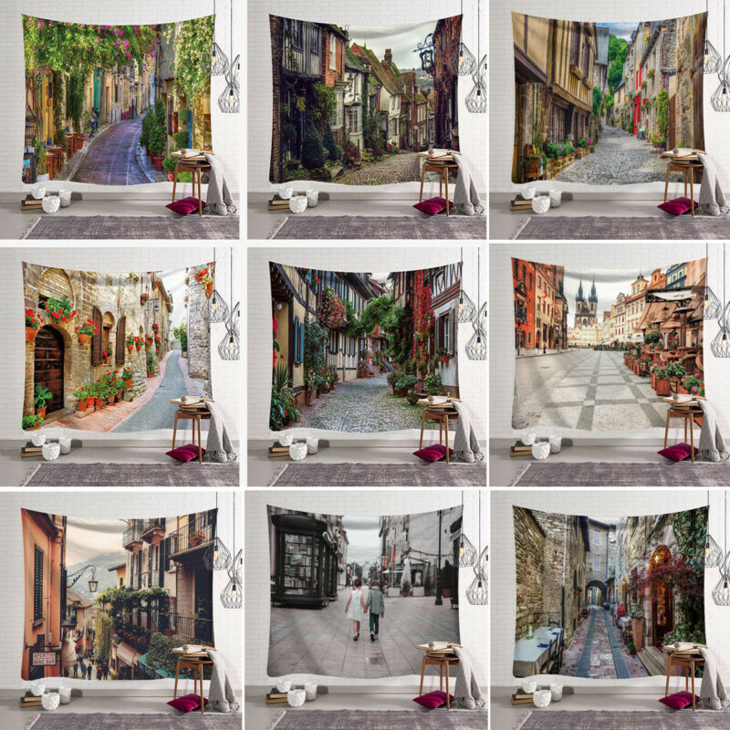 European Small Town Wall Hanging Ancient Town Tapestry Bedspread Throw Home Decor Mat image