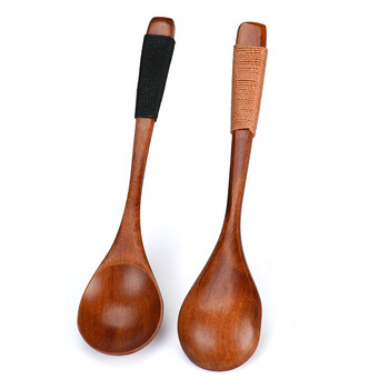 Splendid Wooden Spoons Large Long Handled Spoon Kids Spoon Wood Rice Soup Dessert Spoon Wooden Utensils Kitchen Accessories image