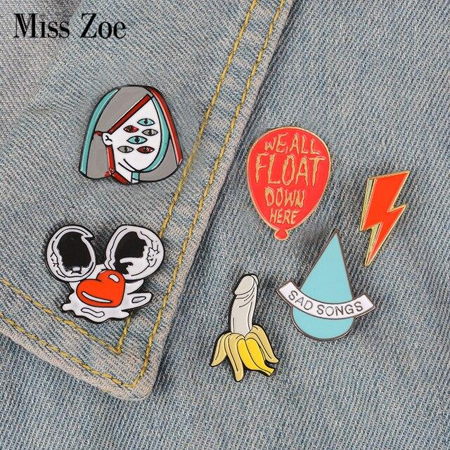 Funny enamel pin Water drop flash egg banana ballon badge brooch Lapel pin Denim Jean shirt bag Cartoon Jewelry Gift for Friend