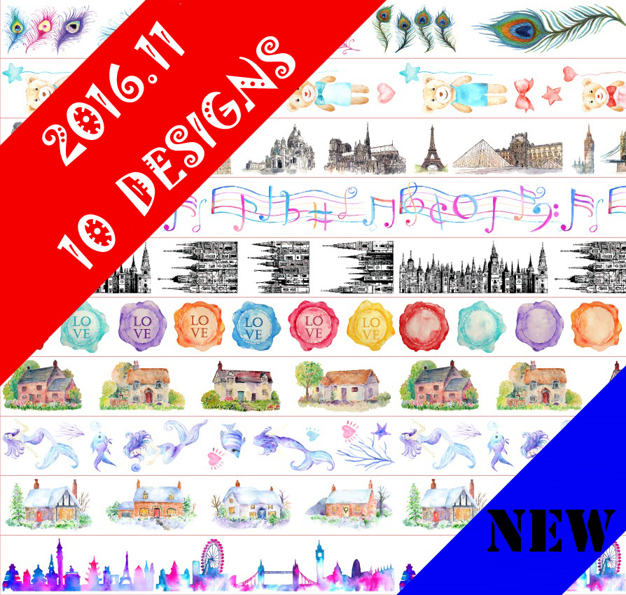 10Designs NEW!! Mermaid/Feather/Love/Building Pattern Japanese Washi Decorative Adhesive DIY Masking Paper Tape Sticker Label
