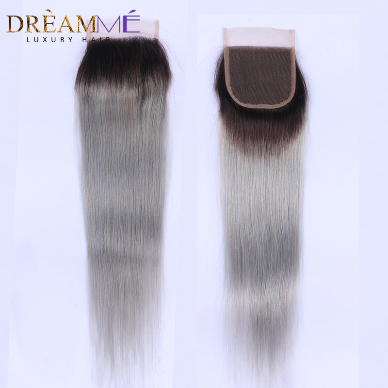 1B Grey Color Brazilian Straight Hair Lace Closure Free Middle Three Part Remy Human Hair 4x4