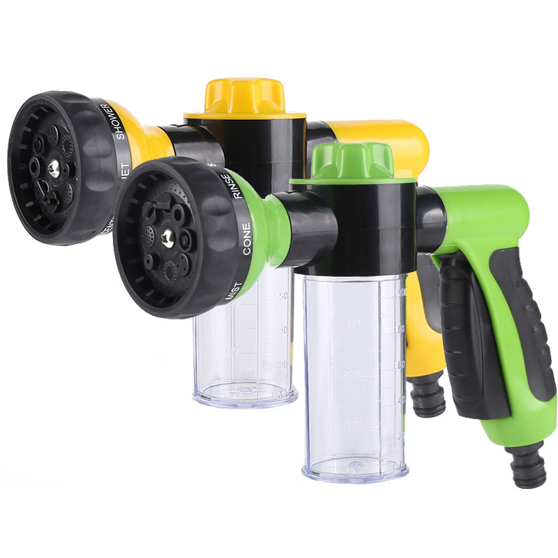 Portable Auto Foam Water Gun High Pressure  8 Spray Patterns Jet Car Washer Sprayer Cleaning Tool  Multifunction Foam Nozzle