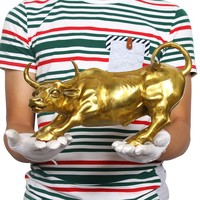 2019# office home protective House Protection efficacious Talisman Money Drawing gold Charging Bull bronze statue LARGE SIZE