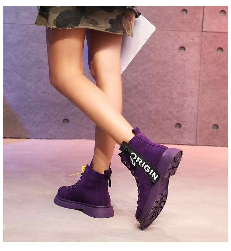 ... ERRFC New Womens Purple Fashion Boots Web Celebrity Woman Chic Short  Ankle Boots Ladies Martin Boots ... 0406ae563e4e