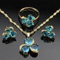 Trevo coração Criado Topázio Azul Claro Cor Prata Conjuntos de Jóias Para As Mulheres vEarrings/Anel/Pingente Caixa de Jóias Livre JS20/21