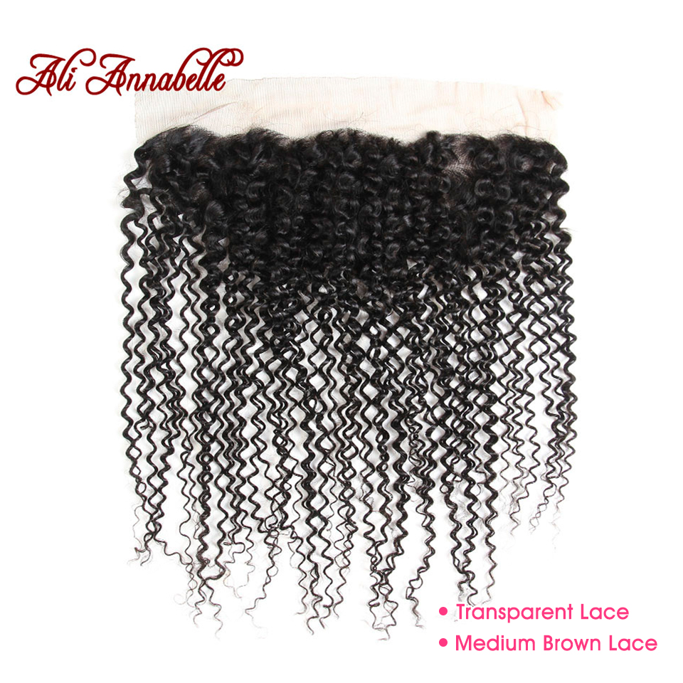 ALI ANNABELLE HAIR Kinky Curly Frontal Medium Brown Transparent Lace Frontal Brazilian Remy Human Hair Lace