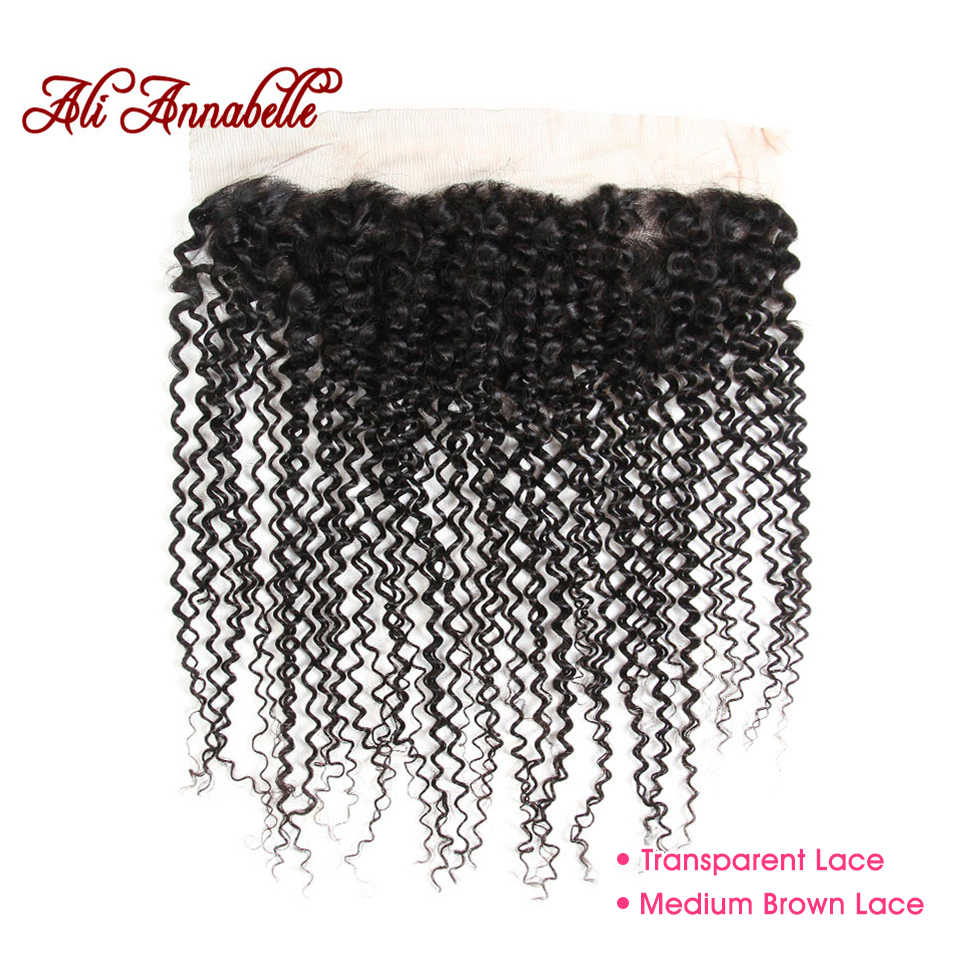 ALI ANNABELLE HAIR Kinky Curly Frontal Medium Brown/Transparent Lace Frontal Brazilian Remy Human Hair Lace Frontal Closure