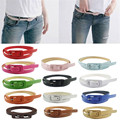 Coolbeenr Hot!Women's Cute Candy Colors PU Leather Thin Belt Skinny Slender Waistband Dec9