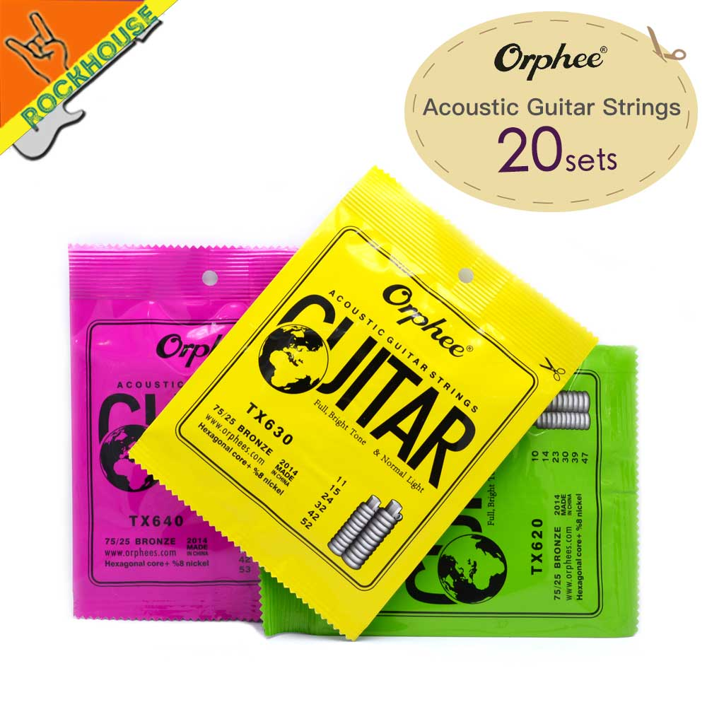 20sets/lot Orphee TX High Grade Hexagonal Carbon Steel Folk Guitarra Acoustic Guitar Strings 75/25 Phosphor Bronze Free Shipping
