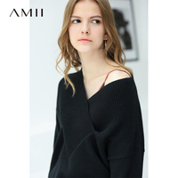 Amii Sexy V Neck Sweaters Women Autumn Winter 2019 Office Solid Thick Loose Full Sleeve Knit Female Sweaters Jumpers