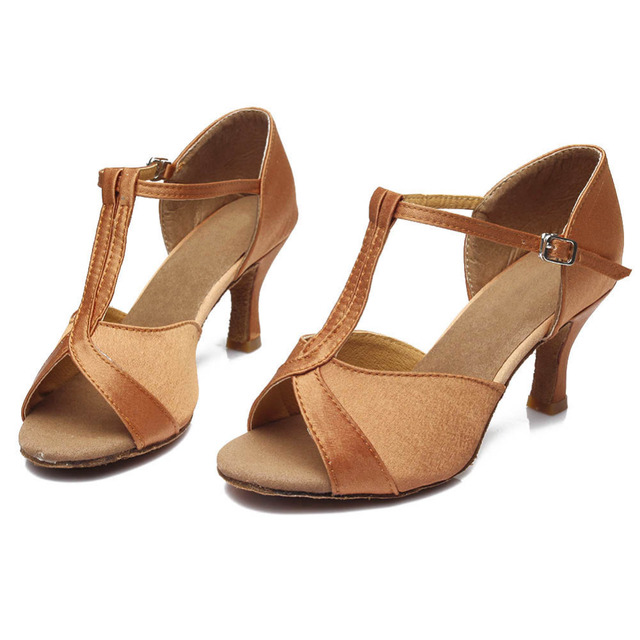 Women Girls Latin Dance Shoes Satin Glitter Tango dance shoes Ballroom Dance Shoes High Heels