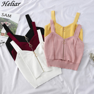 HELIAR Tops Women Crop Top Zipper Fly Stretchy Camis Knitted Tops Sexy Tops With Hole Women Sleeveless Solid Crop Top For Women