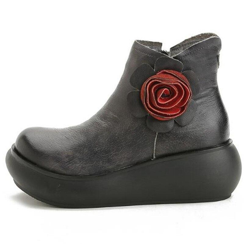 Zxryxgs Original Mode red En 2018 Chaussures Automne De Femmes Coins Gray gray Hiver La À Véritable Bottes Fleur Marque Boots Main Single Boots Cuir Winter Nouveau Boots rEqBTCrwx