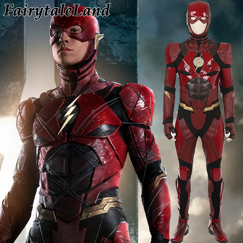 Justice League Flash cosplay Costume Red leather suit Superhero Halloween costumes for adult custom made Jumpsuit
