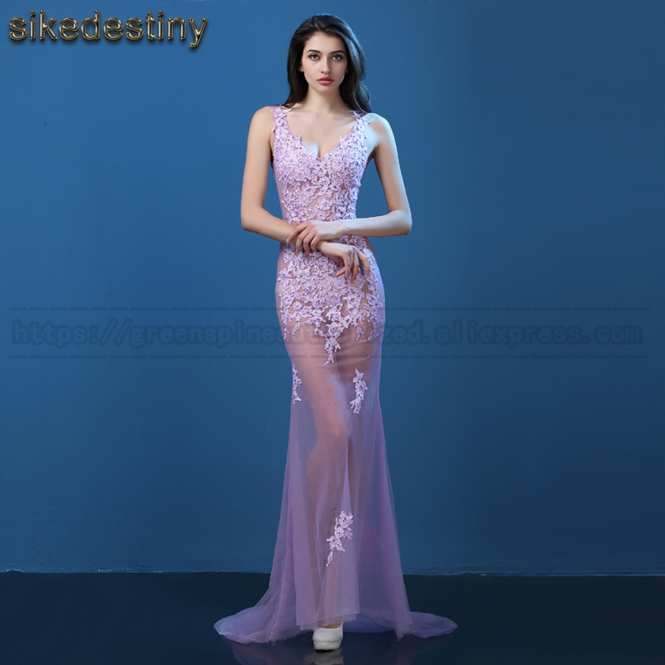 Real Photos 2017 sexy Lace Evening Dress See Through Tulle ...