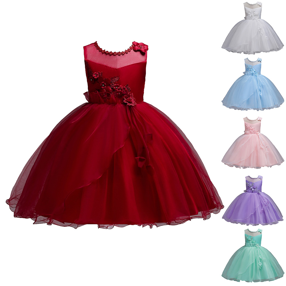 Children Kids Girl Dress Mesh Sleeveless Summer Princess For Performance Party Wedding YH-17