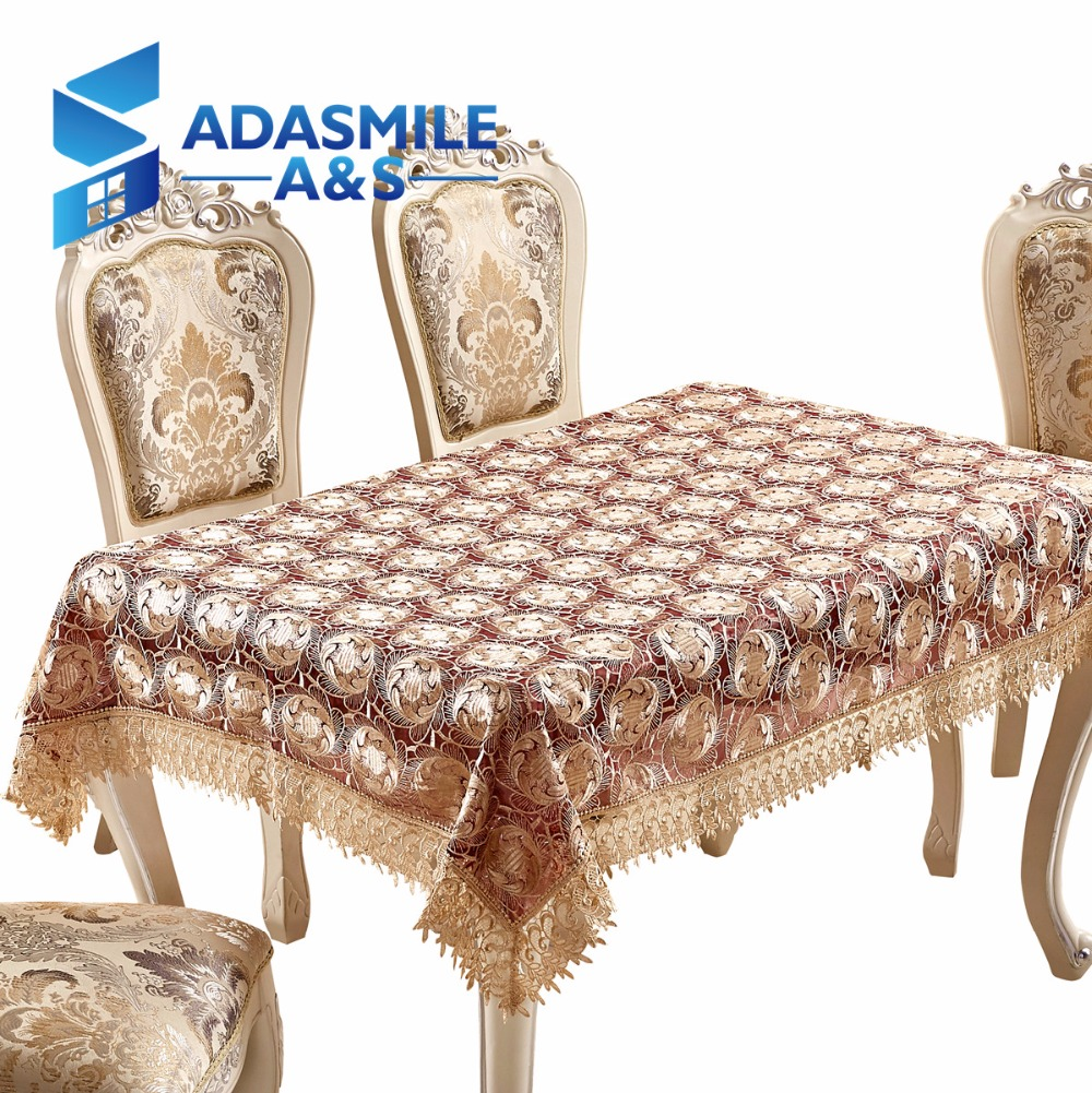 Adasmile Hot Sale Lace Embroidered Floral Polyester Table Topper Tablecloth Table Cover Overlays For Banqute Wedding