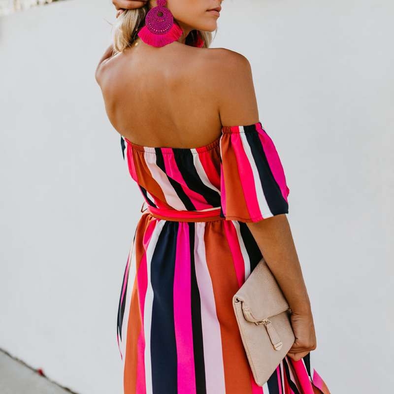 Navy Blue, Red and White Vertical Striped Dress