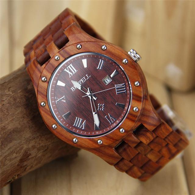 Bewell relojes para hombre de negocios de primeras marcas de lujo de cuarzo de madera exhibición del calendario reloj de los hombres vestido reloj relogio masculino