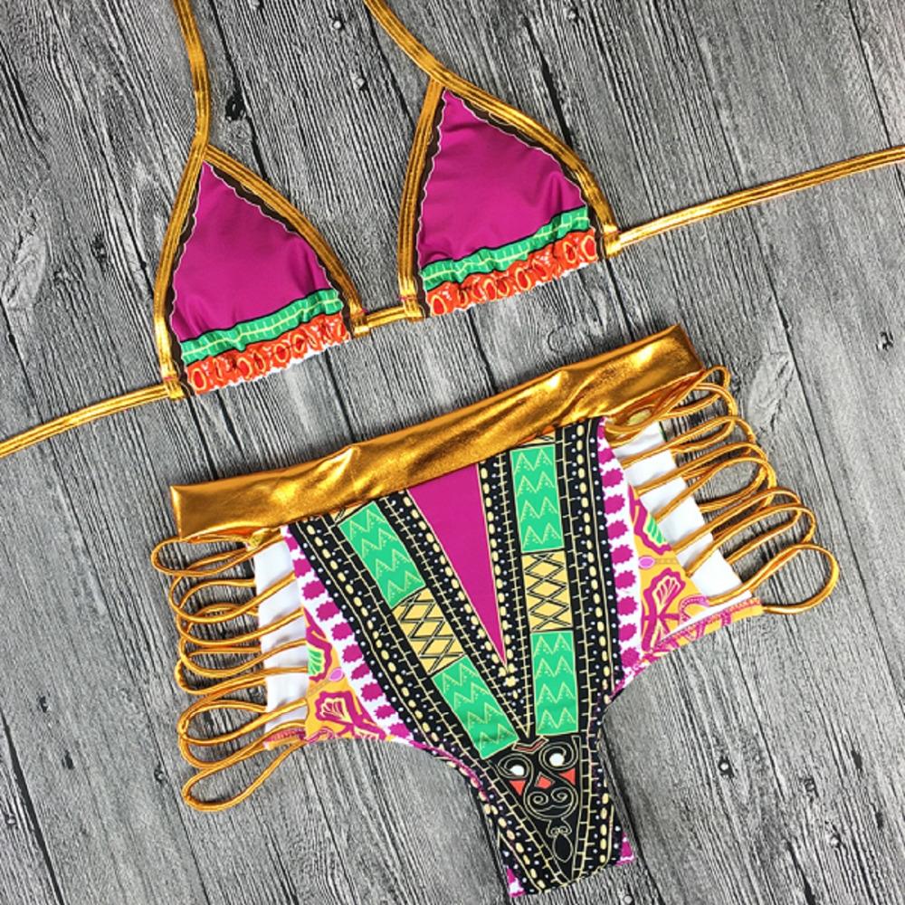 2017 South African golden halter bikini Set high waist swimsuit two pieces swimwear women bathing suit bather maillot de bain 13
