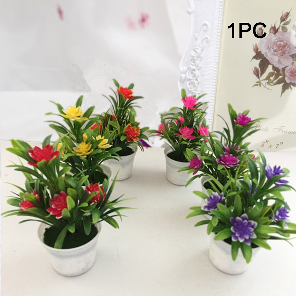 Image 5 - Garden Decorative Potted Plants Artificial Flower Gift Simulation Lifelike Store Desktop Party Office Bonsai Fake Home-in Artificial & Dried Flowers from Home & Garden