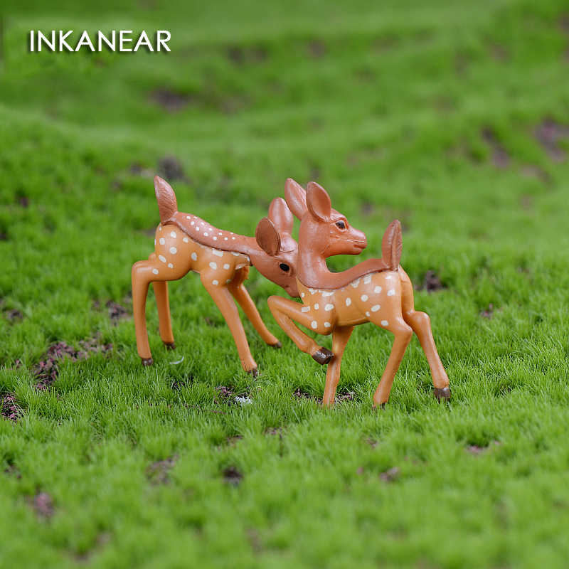 INKANEAR Mini Deers Fairy Garden Miniatures Decor Anime Dollhouse/Terrarium Animals Action Figures Figurine DIY Micro Landscape