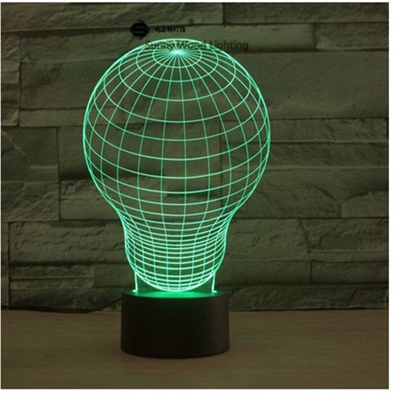 Лампочки сенсорный выключатель LED 3D, визуальную иллюзию 7 видов цветов Изменение 5 В USB для ноутбука, украшение стола игрушки лампы